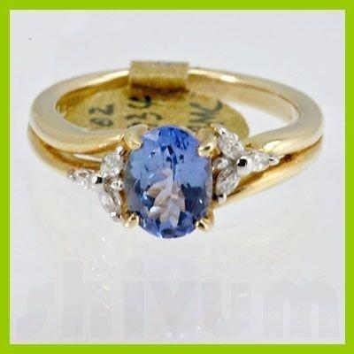 Genuine 1.37 ctw Tanzanite Diamond Ring 14k Yellow Gold