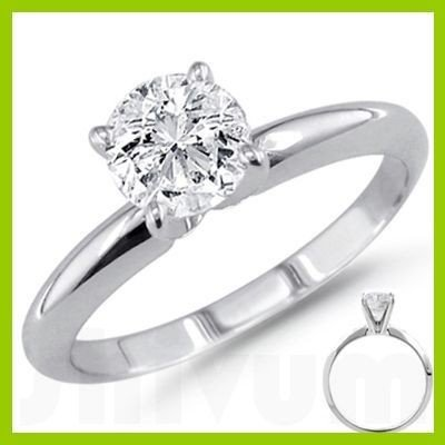 1.00 ct Round cut Diamond Solitaire Ring, F-G, VVS