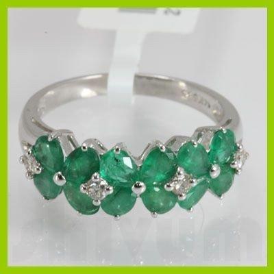 Genuine 2.48 ctw Emerald & Diamond Ring 14kt
