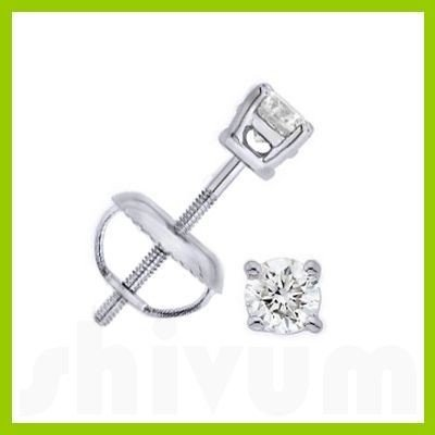 0.25 ctw Round cut Diamond Stud Earrings F-G, VVS