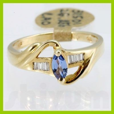 Genuine 0.39 ctw Tanzanite Diamond Ring 14k Yellow Gold