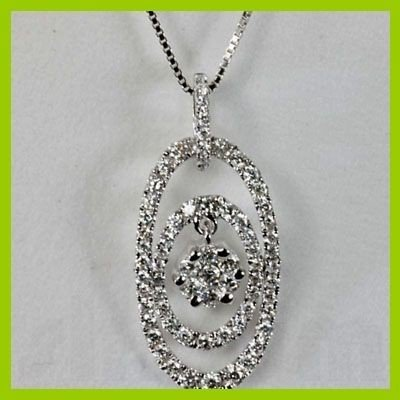 Geniune 0.87 ctw Round Diamond Pendant 18kt Gold-White