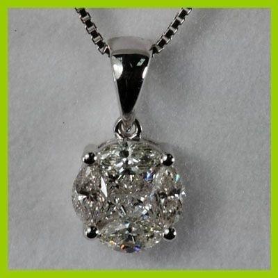 Genuine 0.650 ctw Round  Diamond Pendant 18kt