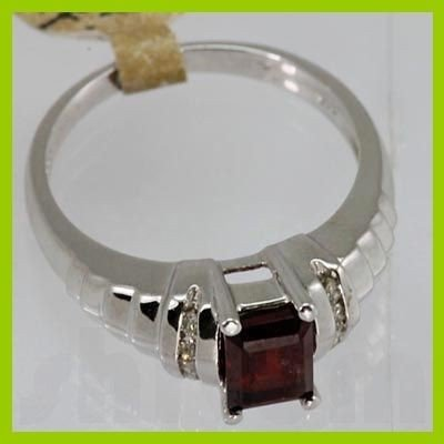 Genuine 1.31 ctw Garnet & Diamond Ring 14K Yellow Gold