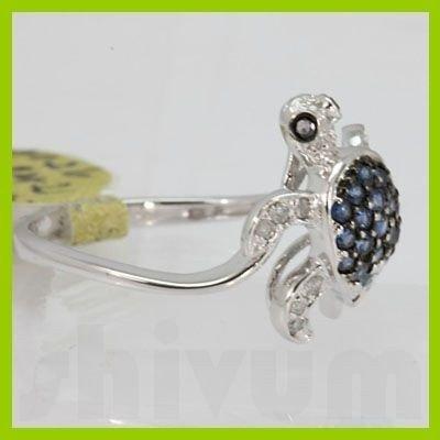 Genuine 0.44 ctw Blue Sapphire & Diamond Ring 14KT
