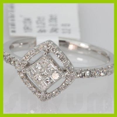 Genuine 0.6 ctwPrincess cut Diamond Ring 14k White Gold