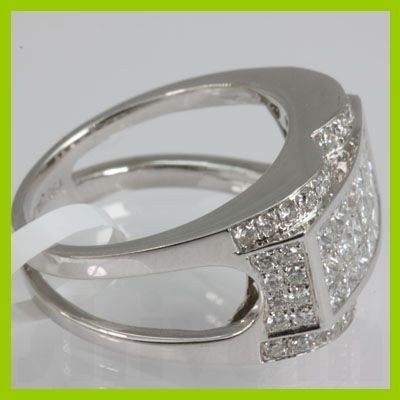 Genuine 1.47 ctw Princess Cut & Diamond Ring 18kt