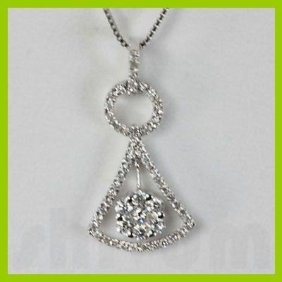 Genuine 0.44 ctw bell Diamond pendant 18k Gold-White