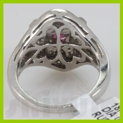 Genuine 1.36 ctw 18k Ruby & Diamond White Gold Ring