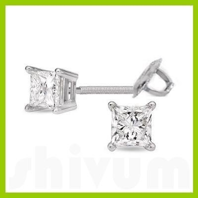 1.00 ctw Princess cut Diamond Stud Earrings F-G, VS