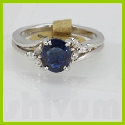 Genuine 1.47 ctw Sapphire & Diamond Ring 14K White Gold