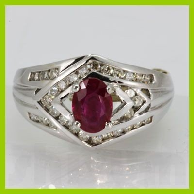 Genuine 1.55 ctw Ruby & Diamond Ring 18KT White Gold