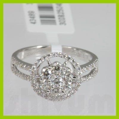 Genuine  0.81 ctw Diamond Ring 18KT White Gold