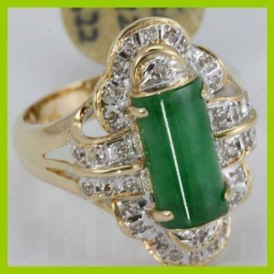 Genuine 12X7MM Green Jade & 0.22 ctw Diamond Ring 14KT