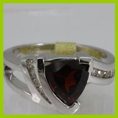 Genuine  2.81 ctw  Garnet Ring  14KT White Gold