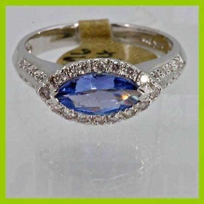 Genuine 1.26 ctw Tanzanite Diamond Ring 14k White Gold