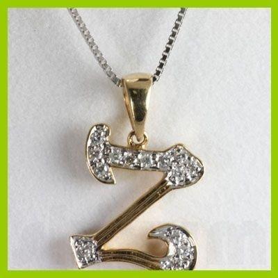 "Genuine 0.10 ctw Letter Z Diamond Necklace 16"" 14kt"