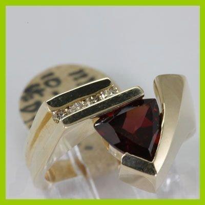 Genuine 1.99 ctw Garnet & Diamond Ring 14KT Yellow Gold