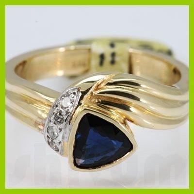 Genuine  0.8 ctw Sapphire Diamond Ring 14KT Yellow Gold