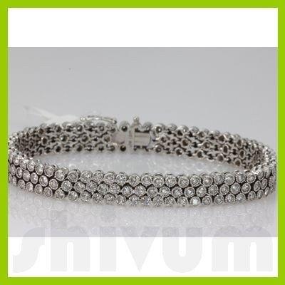 Genuine 6.61ctw Diamond Bracelet 14K White Gold