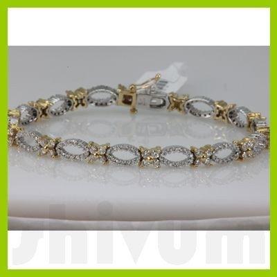 Genuine 3.47ctw Diamond Bracelet 14K Two Tone Gold