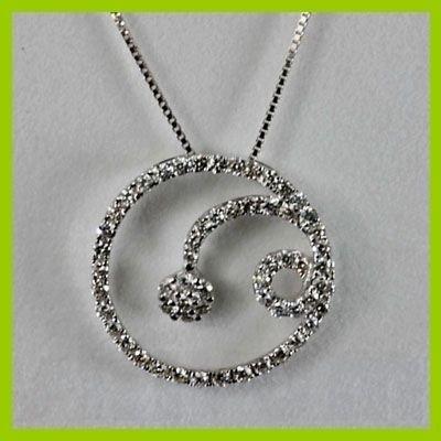 Genuine 0.70 ctw Diamond Pendant 18kt Gold-White