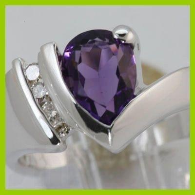 Genuine 1.90 ctw Amethyst & Diamond  Ring 14KT