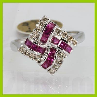Genuine 1.00 ctw Ruby & Diamond Ring 14KT White Gold