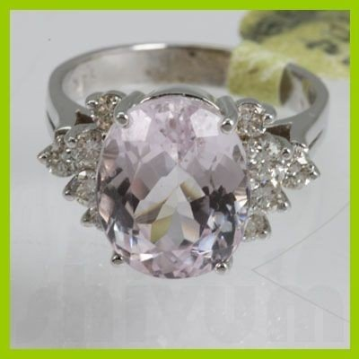 Genuine  6.64 ctw  Pink Kunzite Ring  14KT White Gold
