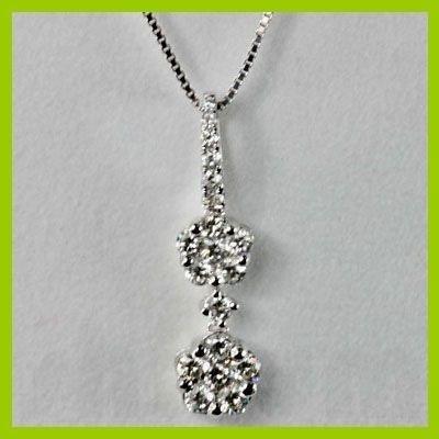 Genuine 0.62 ctw Diamond Pendant 18kt Gold-White