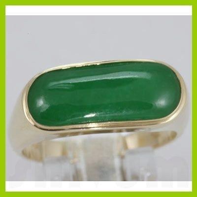 Genuine 19X8MM Green Jade Ring 14KT Gold-Yellow