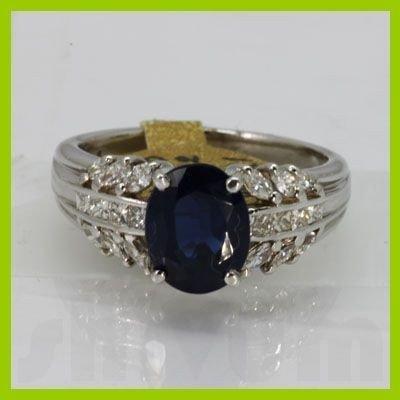 Genuine  2.73 ctw Sapphire Diamond Ring 14KT White Gold