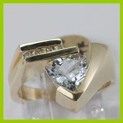 Genuine 1.39 ctw Aquamarine & Diamond Ring 14KT