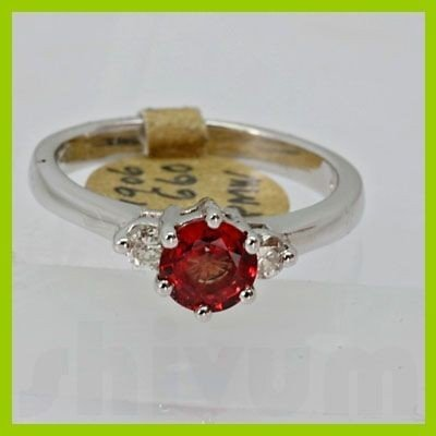 Genuine 1.09 ctw Orange Sapphire & Diamond Ring 14KT