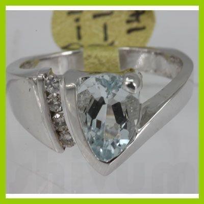 Genuine  1.83 ctw  Aquamarine Ring  14KT White Gold