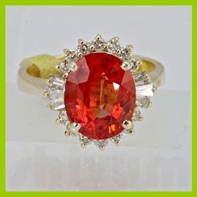 Genuine 5.85 ctw Orange Sapphire & Diamond Ring 14KT