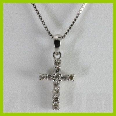 "Genuine 0.18 ctw Cross Diamond Necklace 16"" 14kt"