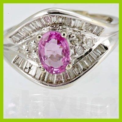 Genuine 1.50 ctw Pink Sapphire & Diamond Ring 18KT