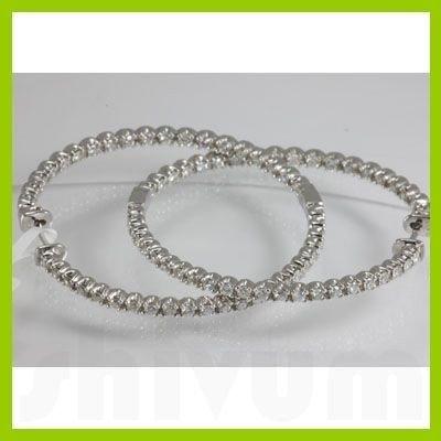 Genuine 2.586 ctw Hoop Huggie Diamond Earring 18kt