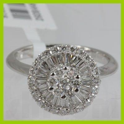 Genuine  0.84 ctw Baguette Diamond Ring 18K White Gold