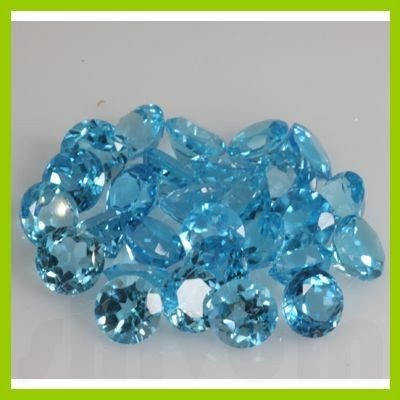 Natural Blue Topaz Round Cut 6 pcs per lot @2.25 USD/ct