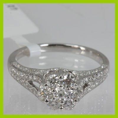 Genuine  1.07 ctw Diamond Ring 18KT White Gold