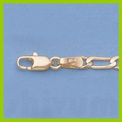 """Genuine 16"""" 14k  Gold-Yellow 3.1mm Figaro Chain 7g"""