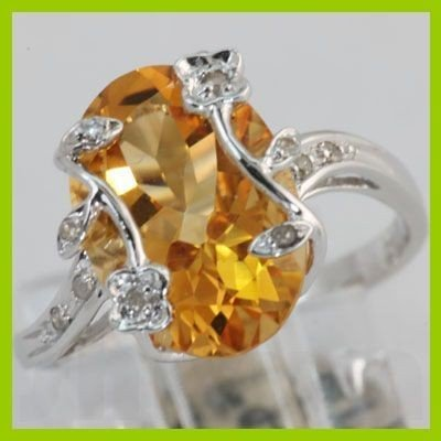 Genuine 5.02 ctw Citrine & Diamond Ring 14KT