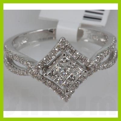 Genuine 0.65ctwPrincess cut Diamond Ring14kt White Gold
