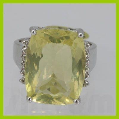 Genuine  16.97 ctw  Lemon Quartz Ring  14KT White Gold