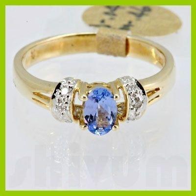Genuine 0.50 ctw Tanzanite Diamond Ring 14k Yellow Gold