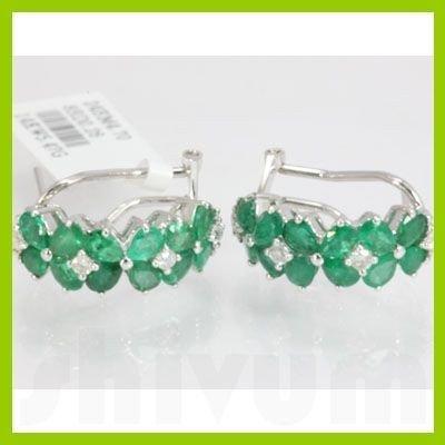 Genuine 4.96 ctw Emerald & Diamond Earring 14kt