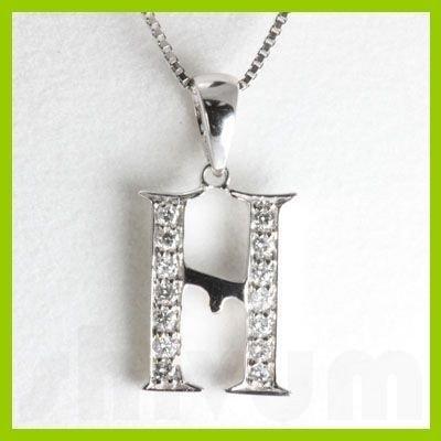 "Genuine 0.14 ctw Letter H Diamond Necklace 16"" 14kt"