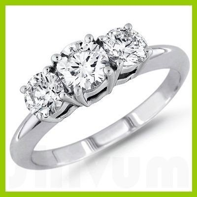 3.00 ctw Round cut Three Stone Diamond Ring, F-G, SI2